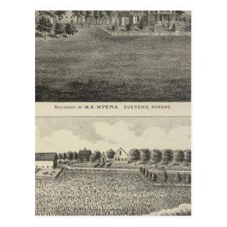 Residences, Quenemo and Lyndon Region, Kansas Postcard