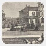 Residencia de James G Gowdy, el río de Tom, NJ Pegatina Cuadrada