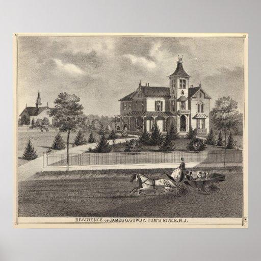 Residencia de James G Gowdy, el río de Tom, NJ Póster