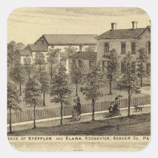 Residencia de Steffler y de Clark, Rochester Pegatina Cuadrada