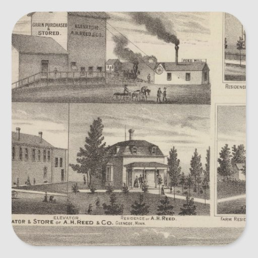 Residencia en Hutchinson, Minnesota Pegatina Cuadrada
