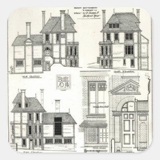 Residencia Sunnycote, Hampstead de la joya, Calcomanía Cuadrada Personalizada