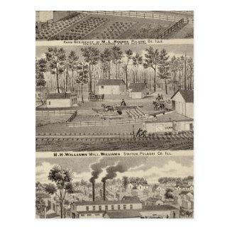 Residencia y molinos y yardas de la madera de postal