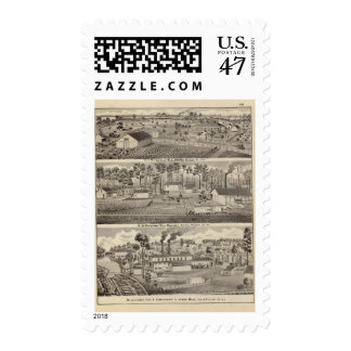 Residencia y molinos y yardas de la madera de timbre postal