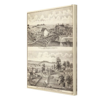 Residencia y residencia de la granja en la magnoli impresión en tela