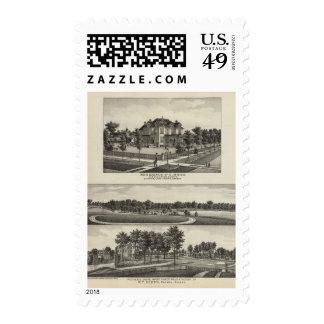Residencias, arboleda, molinos, fábrica, emporios, timbres postales