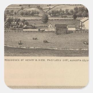 Residencias de Brown, el condado de Augusta Pegatina Cuadrada