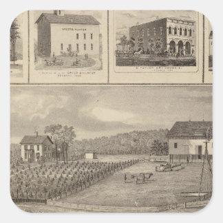 Residencias, edificios y iglesias pegatina cuadrada