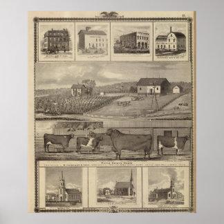 Residencias, edificios y iglesias póster