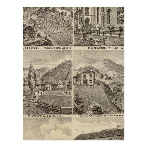 Residencias, granjas, cervecería y estable, Minnes Tarjeta Postal