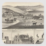 Residencias, granjas, negocios pegatina cuadrada