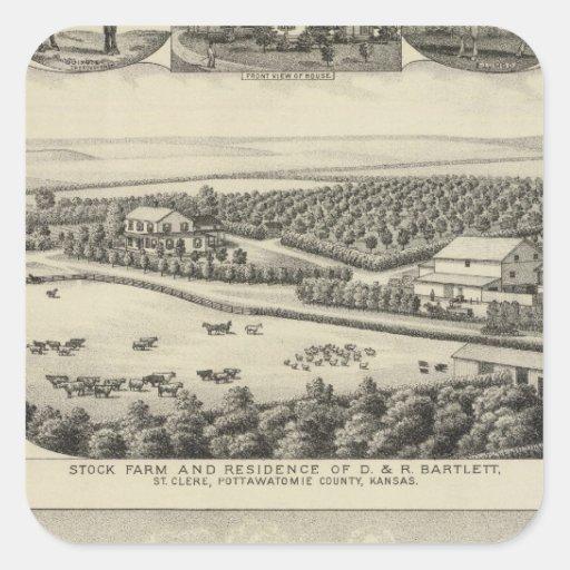 Residencias y granjas, Kansas de Bartlett y de Pegatinas Cuadradases