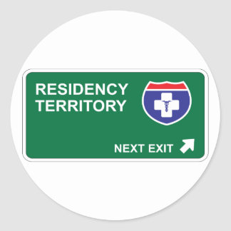 Residency Next Exit Classic Round Sticker