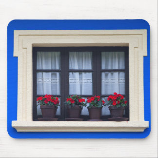 Residential housing with flowers in windows mouse pad