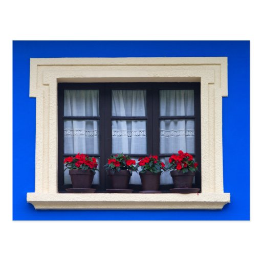 Residential housing with flowers in windows postcards
