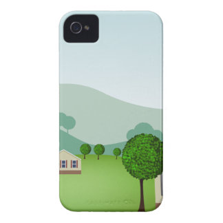 Residential Neighborhood Homes Cartoon Case-Mate iPhone 4 Case