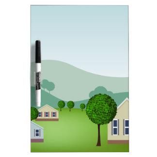 Residential Neighborhood Homes Cartoon Dry-Erase Board