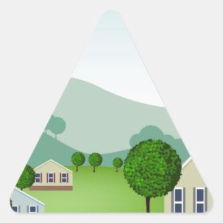 Residential Neighborhood Homes Cartoon Triangle Sticker
