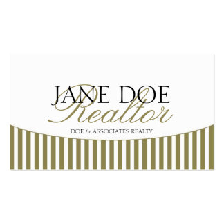 Residential Realtor Gold Script Stripes White Double-Sided Standard Business Cards (Pack Of 100)