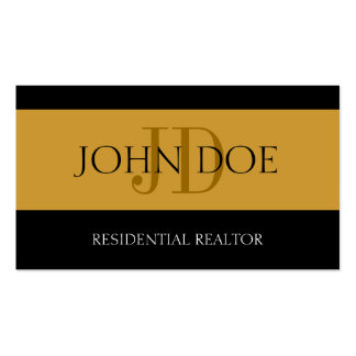 Residential Realtor Stripe Gold Business Card Templates