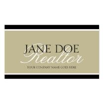 Residential Realtor Tan/White Script/Black Borders Business Cards