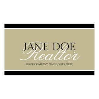Residential Realtor Tan/White Script/Black Borders Double-Sided Standard Business Cards (Pack Of 100)