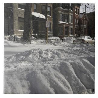 Residential urban (city) street on sunny winter 2 tile