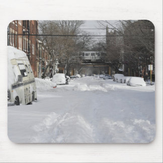 Residential urban (city) street on sunny winter mouse pad