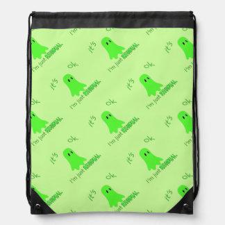 Residual Haunting - Green Ghost Drawstring Bags
