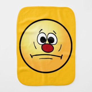 Resigned Smiley Face Grumpey Burp Cloth