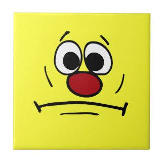 Resigned Smiley Face Grumpey Ceramic Tile
