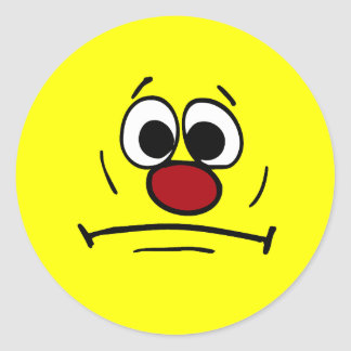Resigned Smiley Face Grumpey Classic Round Sticker
