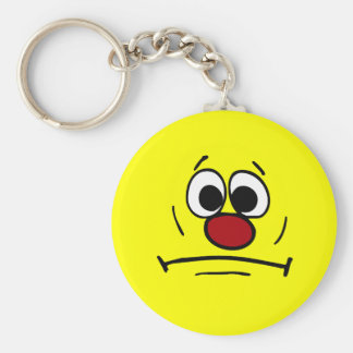 Resigned Smiley Face Grumpey Keychain
