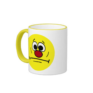 Resigned Smiley Face Grumpey Ringer Coffee Mug