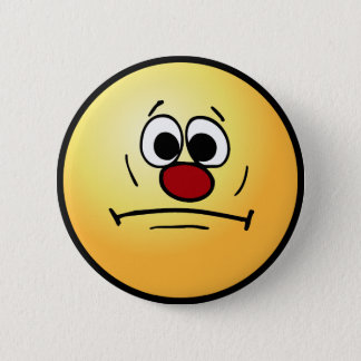 Resigned Smiley Face Grumpey Pinback Button