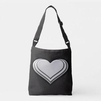 Resilient Heart (Metal) Cross Body Tote Bag BLACK