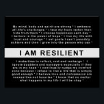 """RESILIENT LIVING: I AM RESILIENT POSTER<br><div class=""""desc"""">There is something quite profound about the effect quotations can have on us. It's amazing what a mere string of words can do to touch our hearts and give us just that bit of extra courage. A thoughtful quotation combined with just the right image can create a powerful vision to...</div>"""