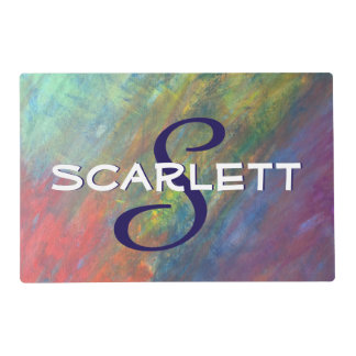 Resilient Pet Name Rainbow Abstract ROYGBIV Modern Placemat