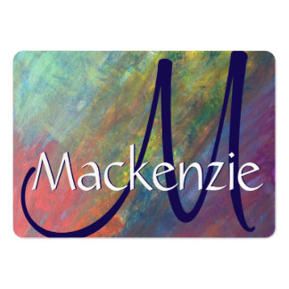 Resilient Rainbow Abstarct Chic Fun Cool Monogram Large Business Card