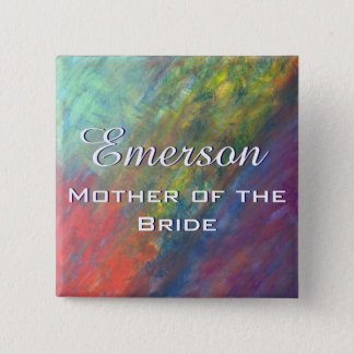 Resilient ROYGBIV Abstract Rainbow Bridal Party Pinback Button