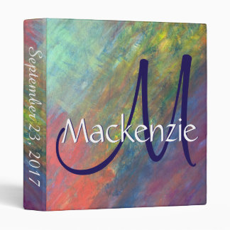 Resilient ROYGBIV Abstract Rainbow Modern Wedding 3 Ring Binder