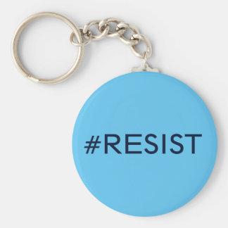 #Resist, black text on sky blue Keychain
