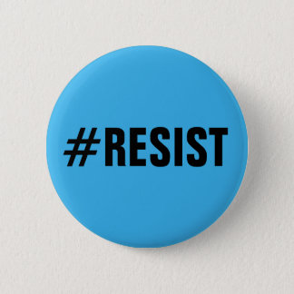 #Resist, bold black text on bright blue, all caps Button