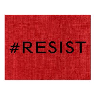 #Resist, bold black text on Red Linen Photo Postcard