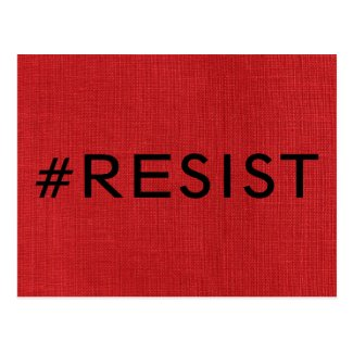 #Resist, bold black text on Red Linen Photo Postcard