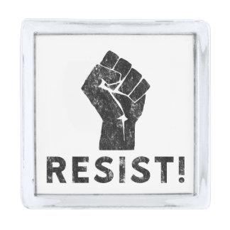 Resist Fist Silver Finish Lapel Pin