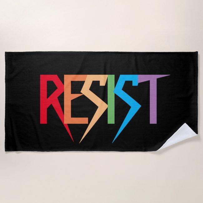 Resist in Rainbow Colors Beach Towel