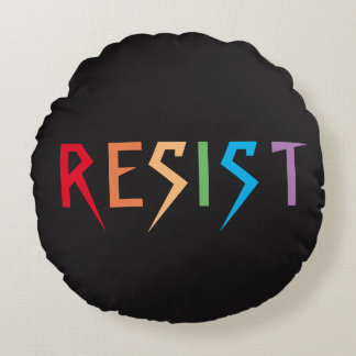 Resist in Rainbow Colors Round Pillow