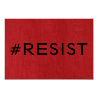 #Resist on Red Linen Texture Photo Poster