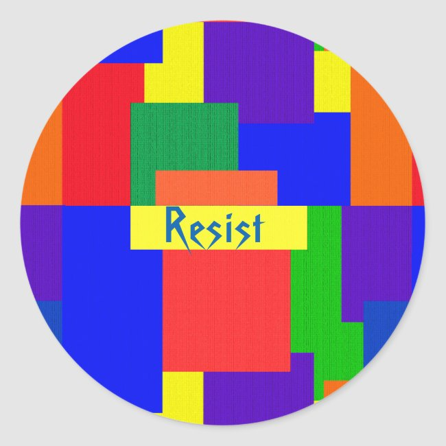 Resist Patchwork Rainbow Quilt Design Stickers